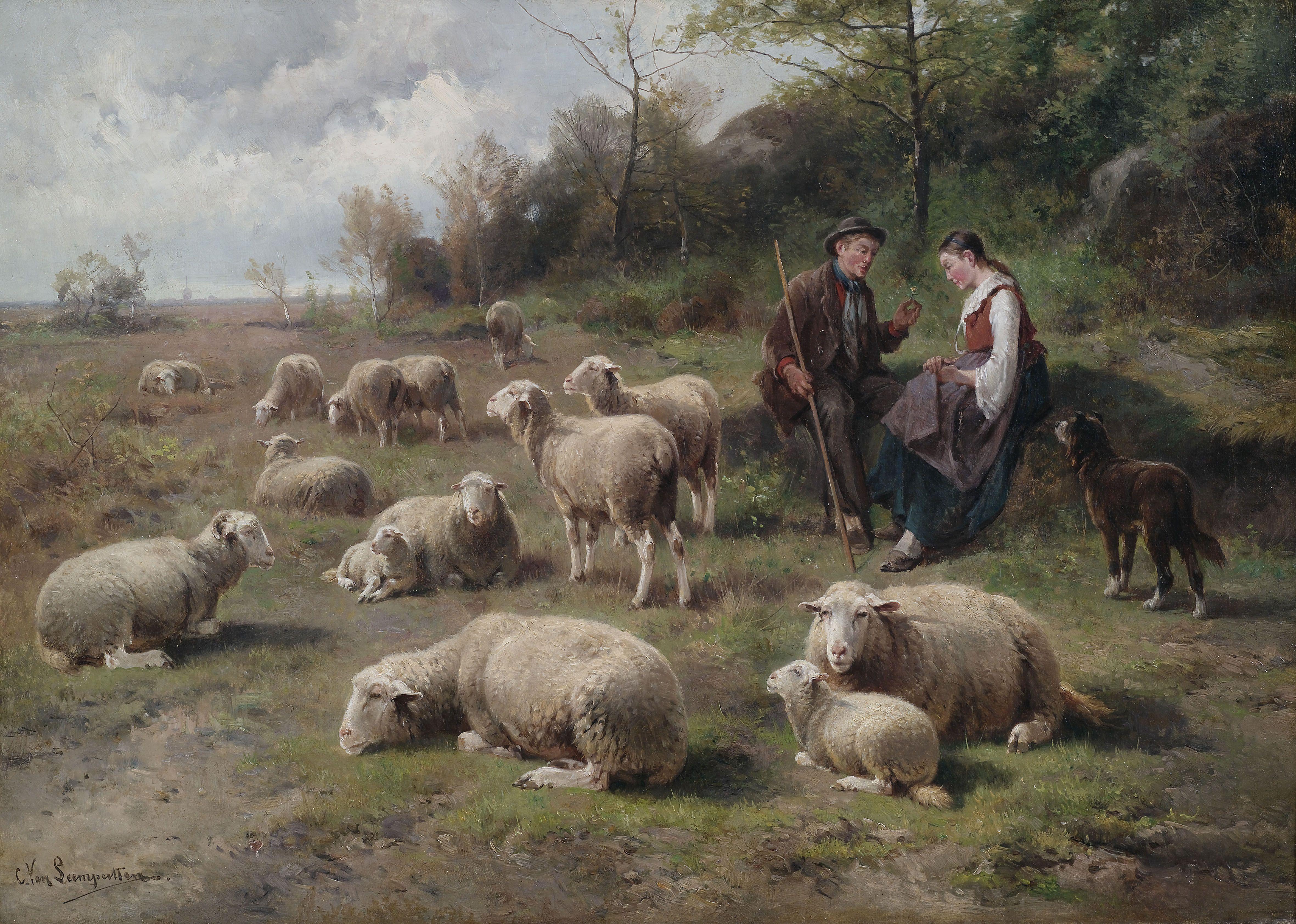 File:Cornelis van Leemputten Schäferpaar mit Herde.jpg - Wikimedia ... | {Herde 14}