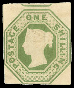 English: Embossed green shilling. Postage stam...