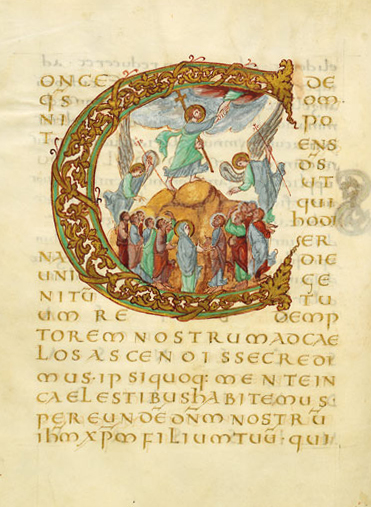 Use of the symbolic Hand of God in the Ascension from the Drogo Sacramentary, c. 850 Enluminure Drogon c.jpg