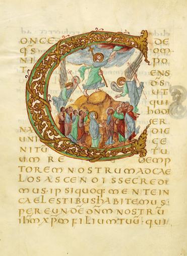 Ascension of Christ (Illuminated manuscript, Sacramentaire de Drogon, Initiale C ornée de l'Ascension du Christ, 845-855, unknown artist)
