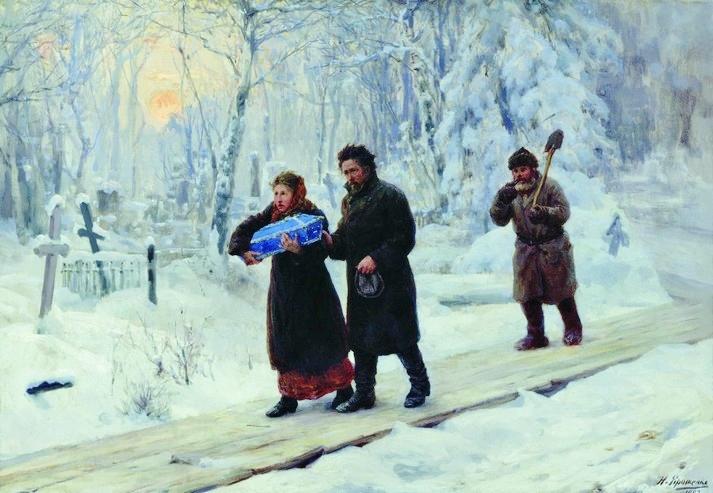 Funeral del primogénito, por Nikolai Yaroshenko, 1893