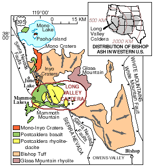 "Map of directional flow from a large oval labeled ""Long Valley Caldera."" Glass Mountain is on one side of the oval and Mammoth Mountain is on the other. North of the oval are the Inyo Craters, Mono Craters and Mono Lake. Colors are used to distinguish the age and type of the volcanic rock. Fault lines are depicted along the Sierra Nevada."