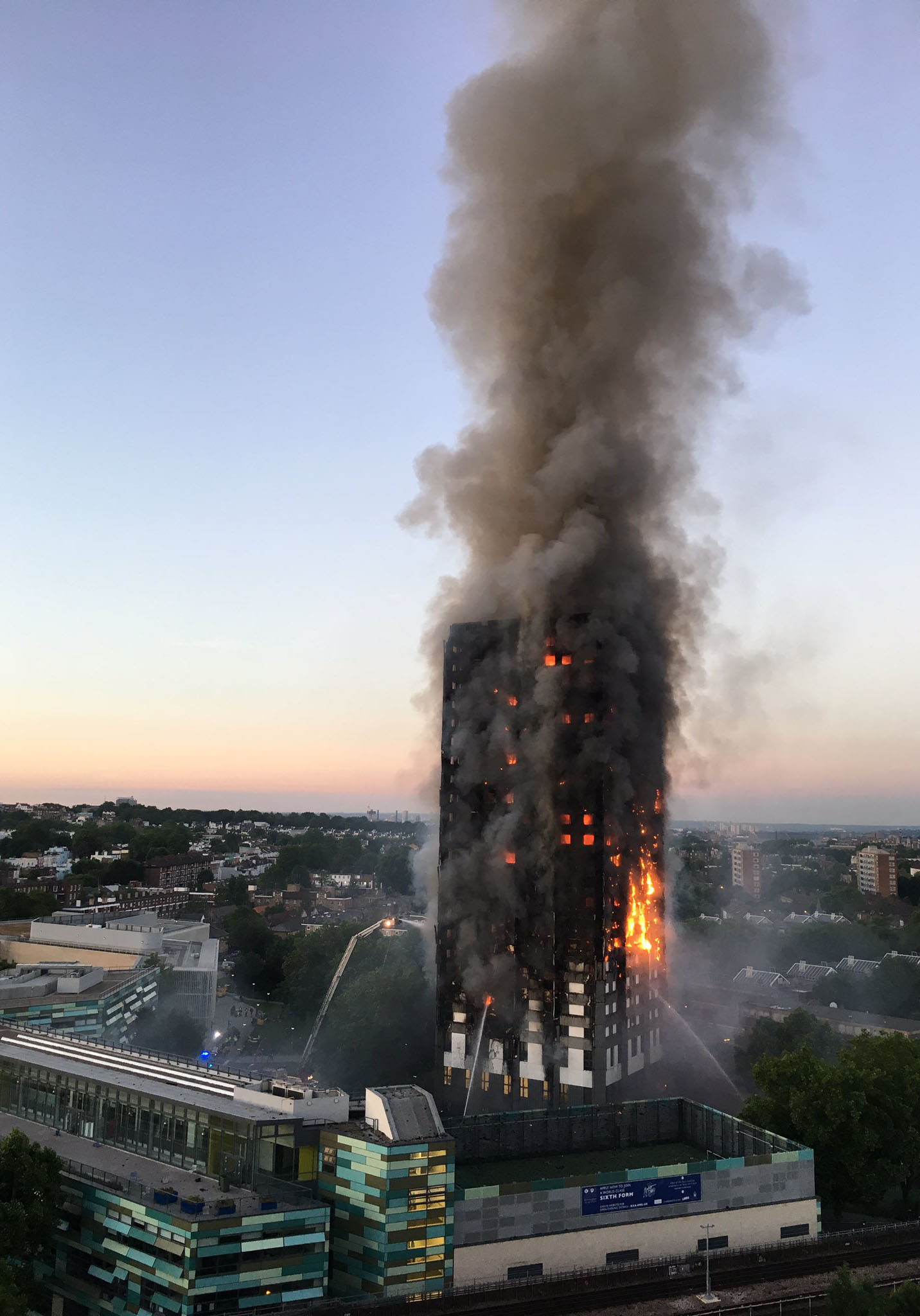 The Grenfell Tower fire in 2017