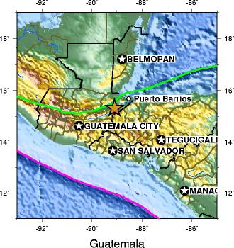 Motagua Fault (green line) and the Middle America Trench (pink line) Guatemala1976EarthquakeMap.jpg
