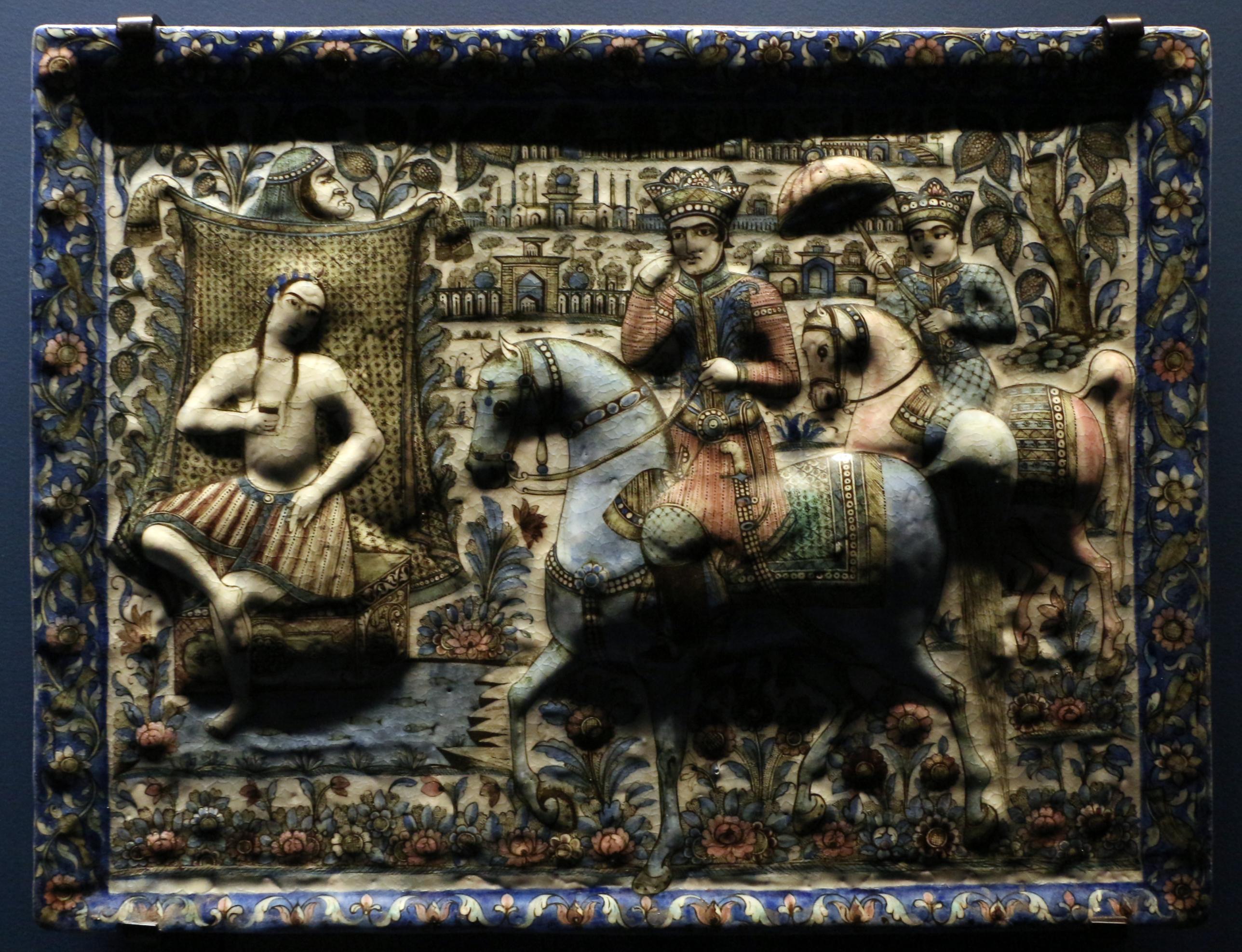 File iran mattonella decorativa con una secna del khamseh for Piani di fattoria del 19 secolo
