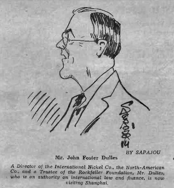 Caricature of John Foster Dulles on a 1938 visit to Shanghai John Foster Dulles by Sapajou 1938.png