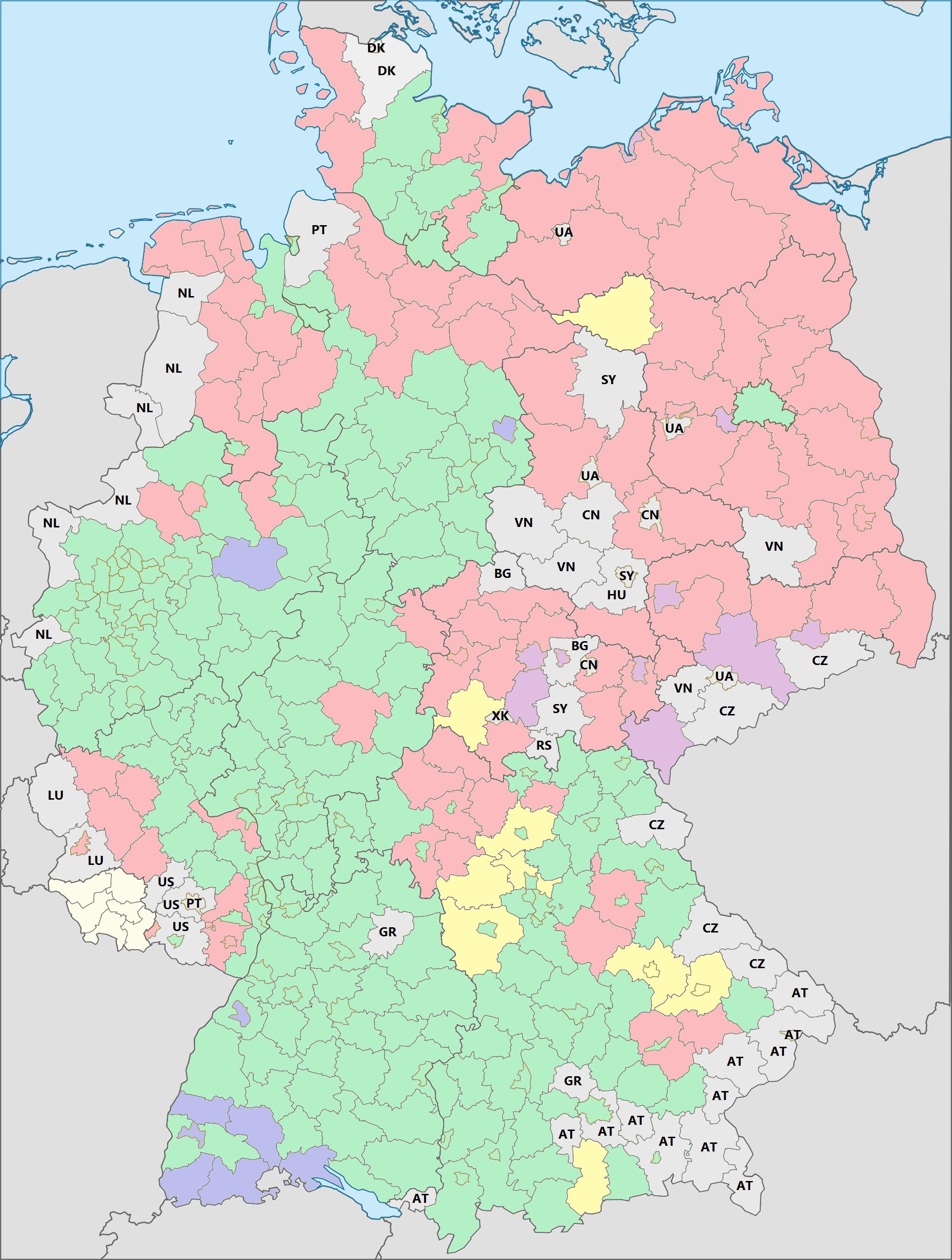 deutschland landkreise karte File:Karte Kreise Deutschland Ausländer nach Herkunft.png