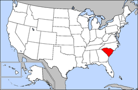 Mapa ning United States with South Carolina highlighted