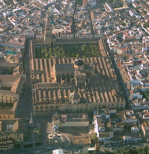 Arial view of the Great Mosque-Cathedral of Córdoba (photo by Salvadorecoco)