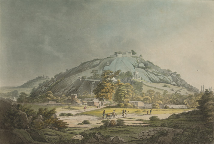 A view of Moula Ali Hill. This is plate 3 from 'Hindoostan Scenery consisting of Twelve Select Views in India'.