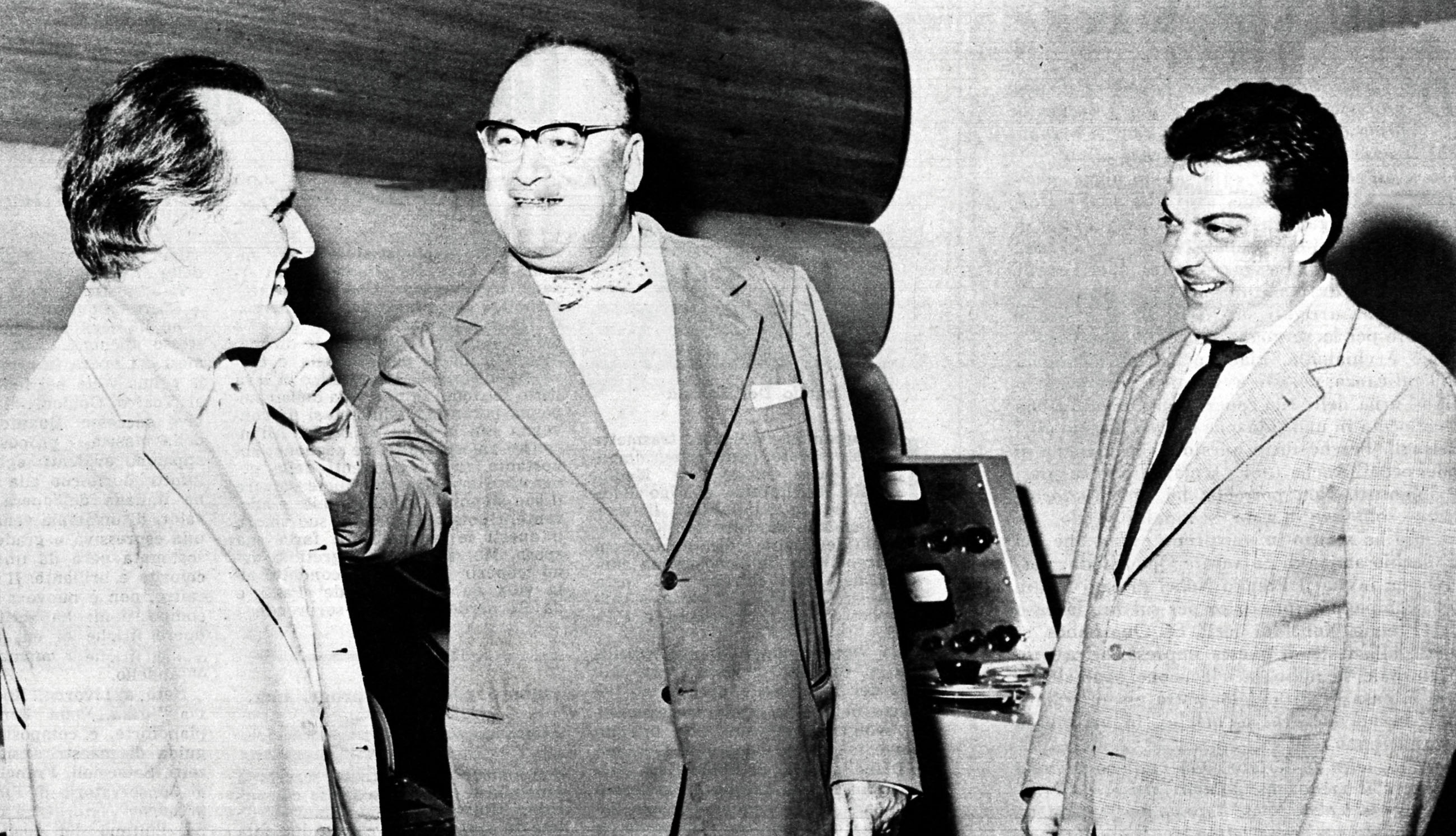 Nino Rota (left), with [[Riccardo Bacchelli]] and [[Bruno Maderna]] in 1963