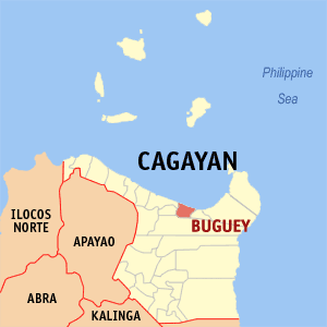 Map of Cagayan showing the location of Buguey