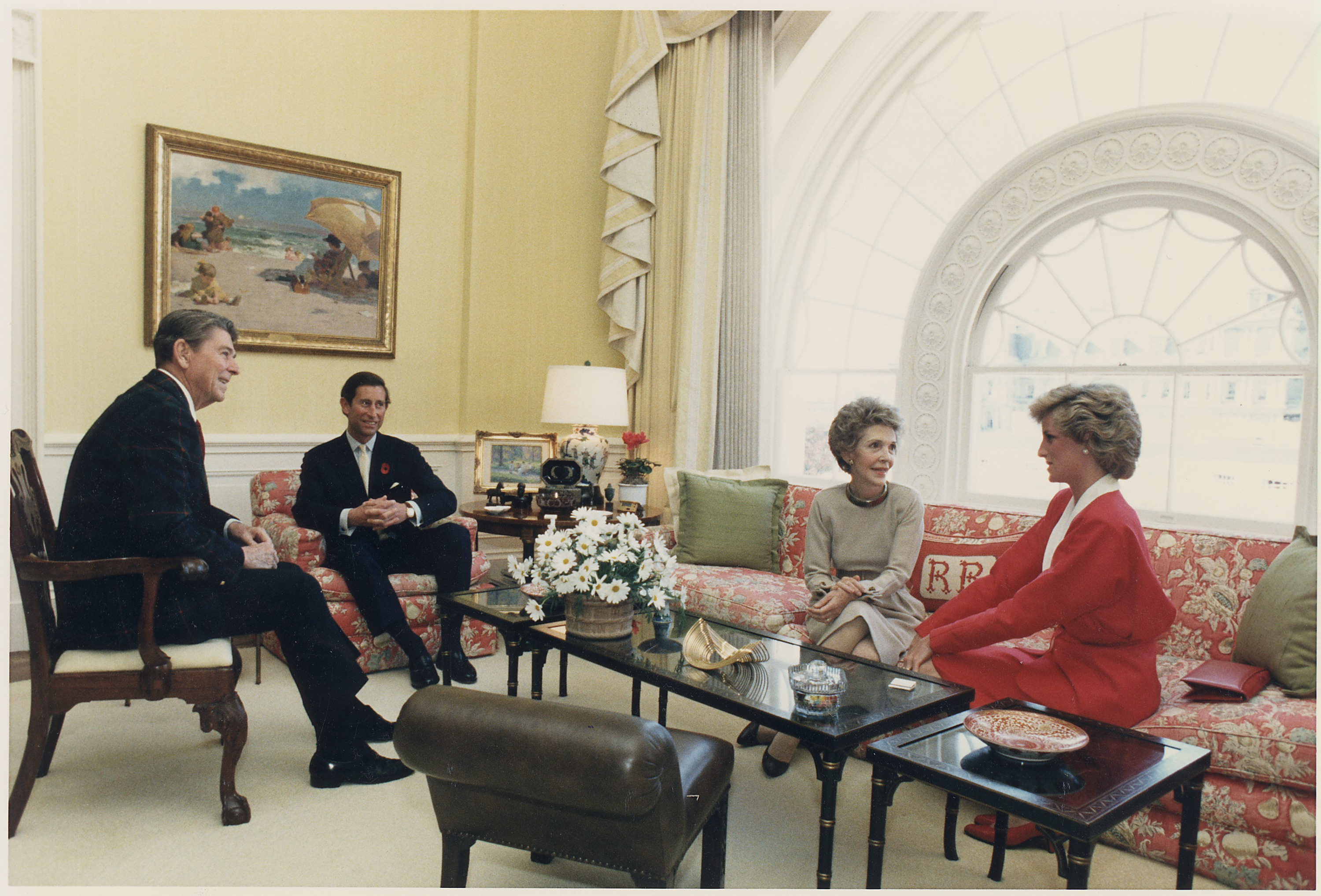 File Photograph Of The Reagans Having Tea With Prince Charles And Princess Diana In