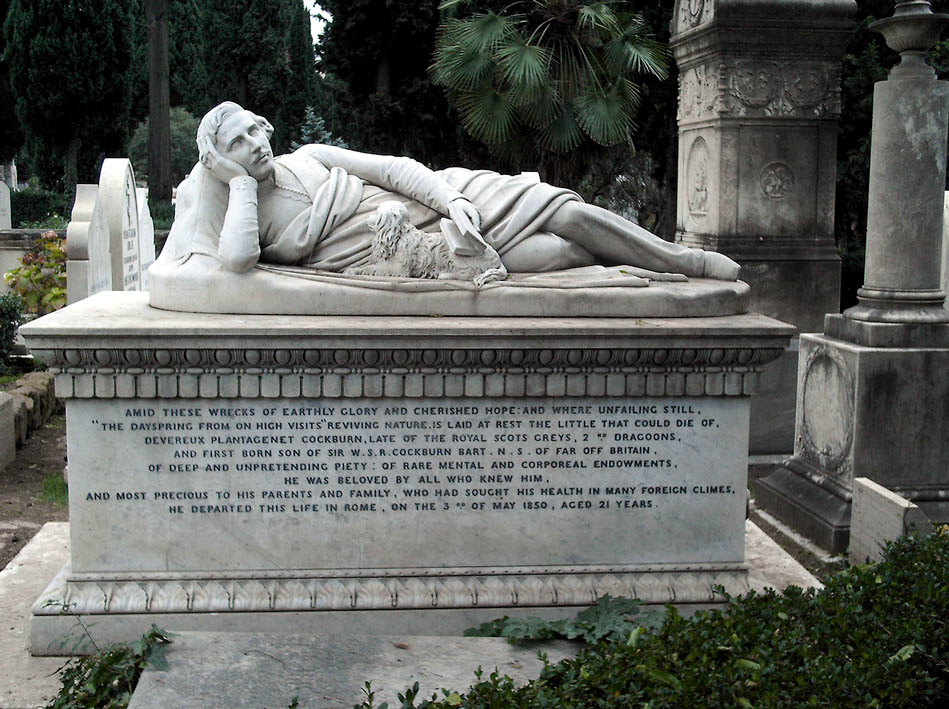 Un des monuments funéraires du cimetière protestant de Rome : Celle de Devereux Plantagenet Cockburn. Photo de LuciusCommons.