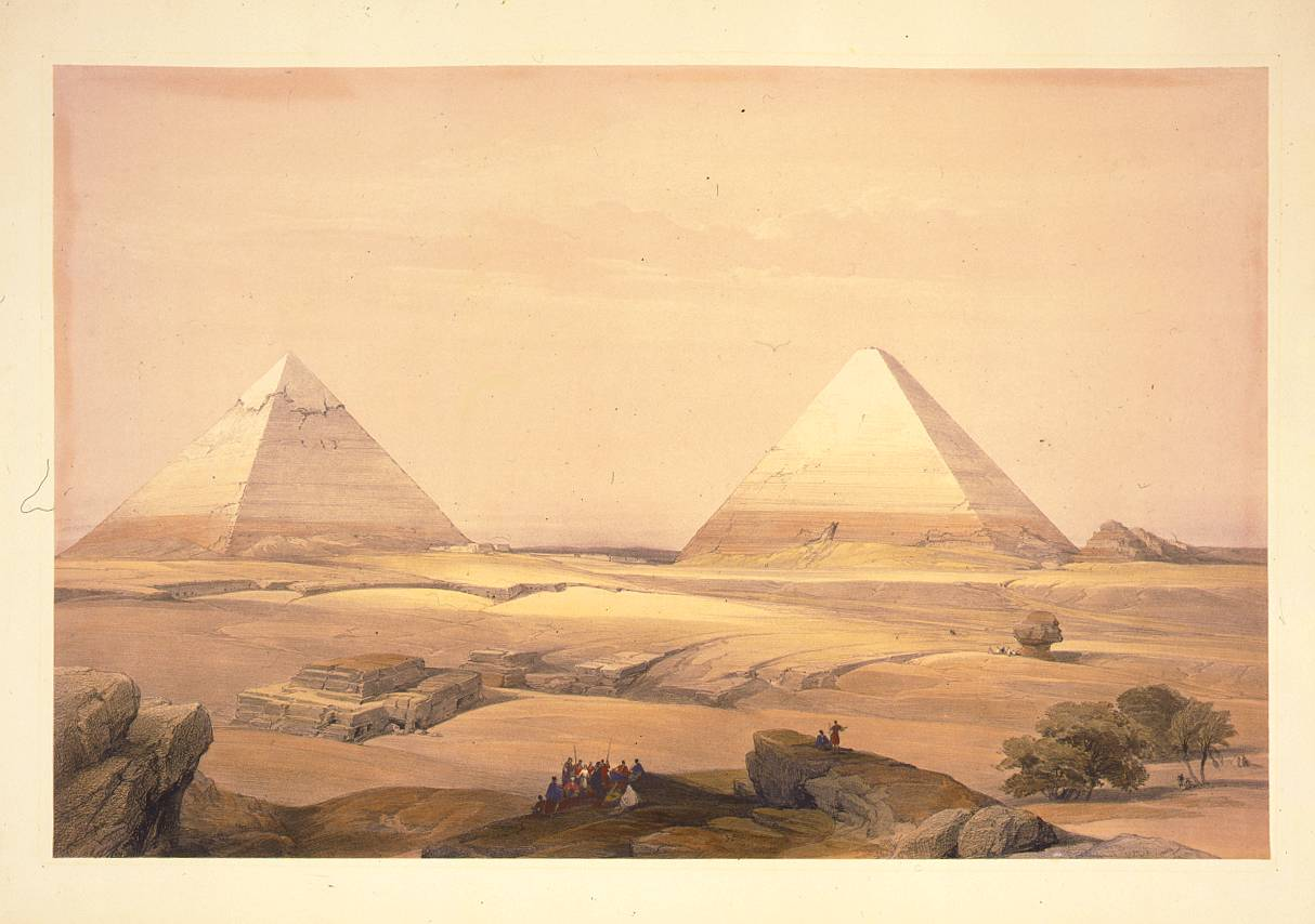 Pyramids of Giza lithograph, 1846