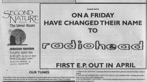 Advertisement placed in Oxford music magazine Curfew (now Nightshift) announcing On a Friday's change of name[17]