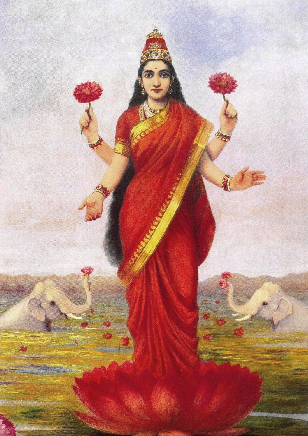 Oil on canvas painting pf Goddess Lakshmi by Raja Ravi Varma. Elephants appear on her sides showering her with lotuses.