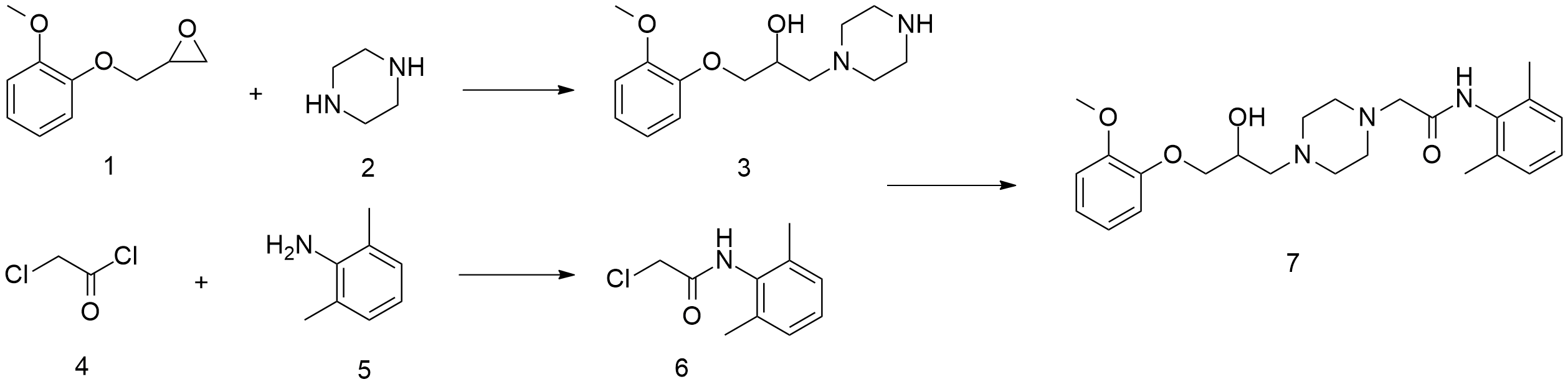 Image result for Ranolazine SYNTHESIS