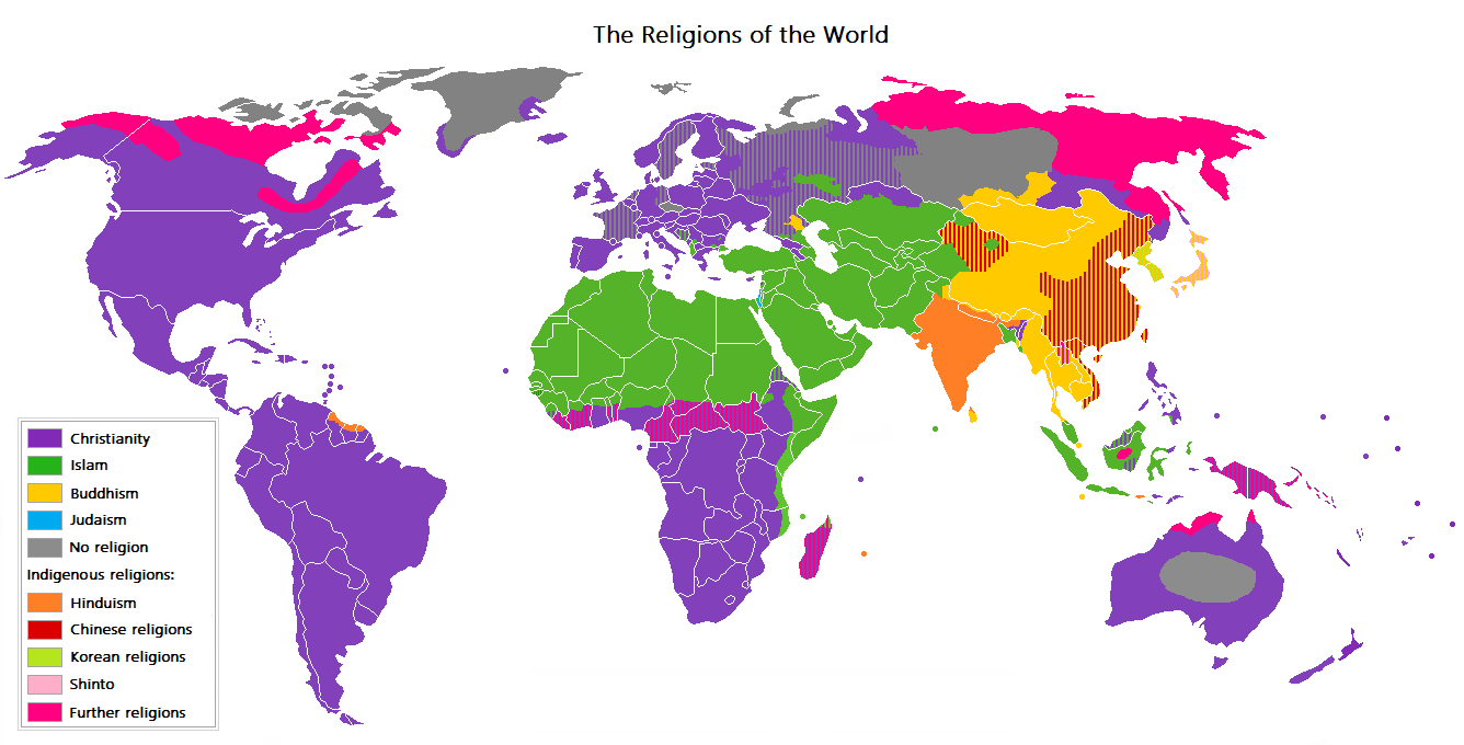 A map of the world, showing the major religion...