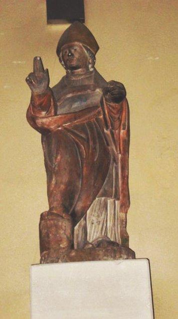Statue av den hellige Aprus i kirken i Contrexéville