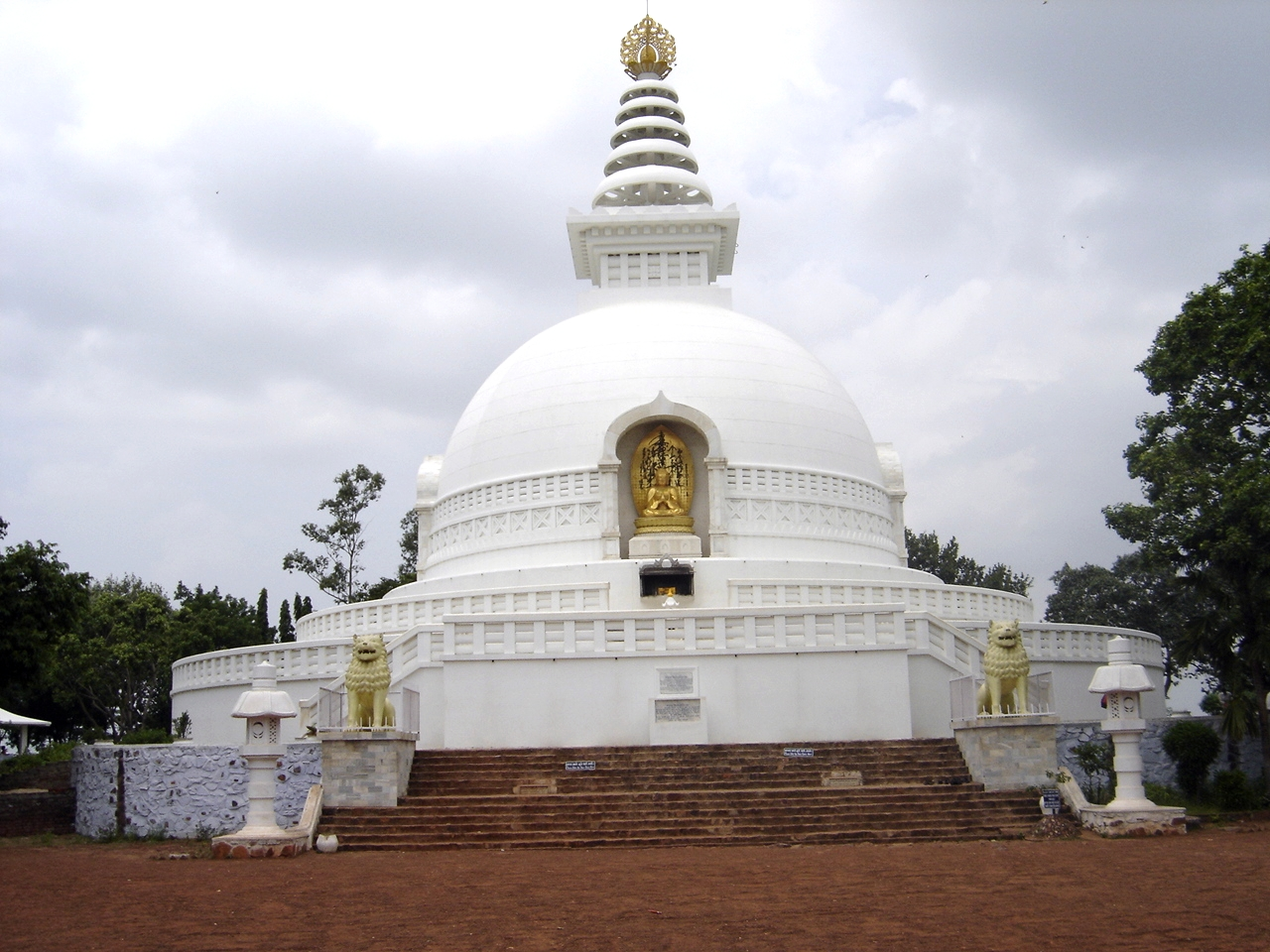 Vishwa Shanti Stupa (World Peace Pagoda) on Vulture Peak, Rajgir.