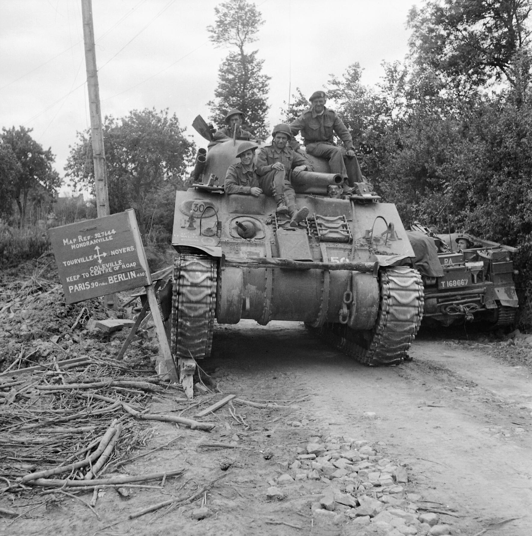 2nd Fife and Forfar Yeomanry by Qhorin Sherman_tank_of_29th_Armoured_Brigade,_11th_Armoured_Division,_in_Normandy,_11_July_1944._B6980