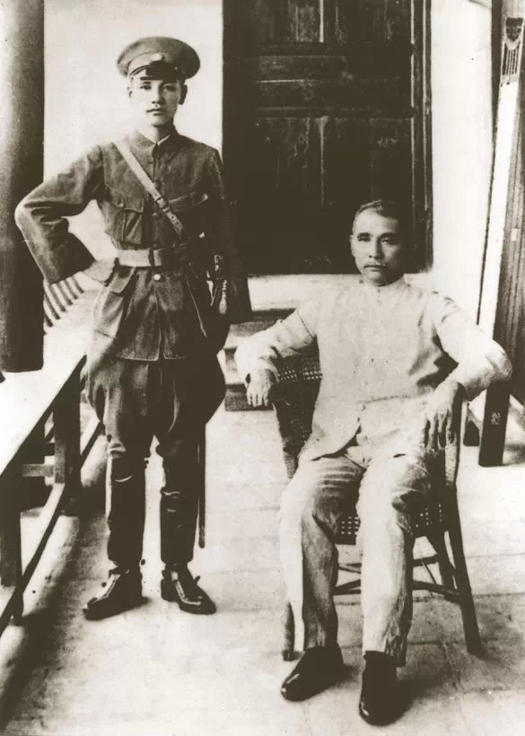 Sun Yat-sen, the father of modern China (seated on right), and Chiang Kai-shek, later President of the Republic of China.