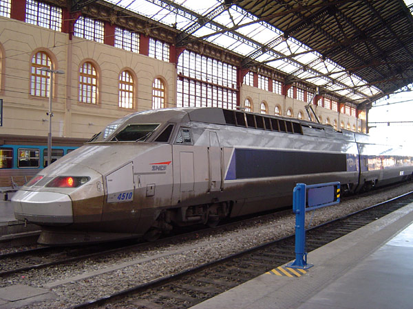 A TGV train in Marseille operated by the publicly owned SNCF. In many countries, the rail network is partly or completely, owned or controlled, by the state.