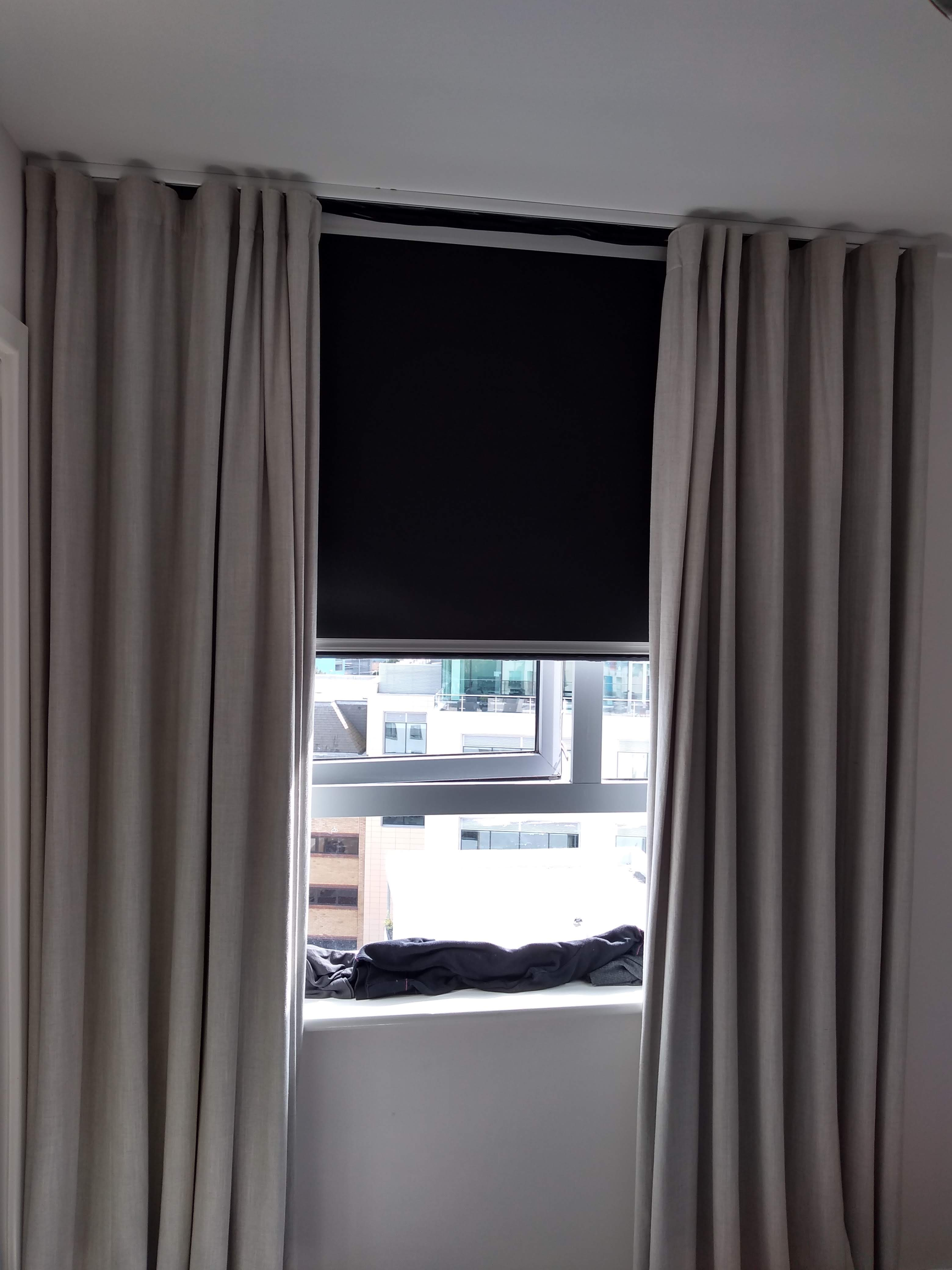 Total Blackout Cassette Roller Blind With Curtains