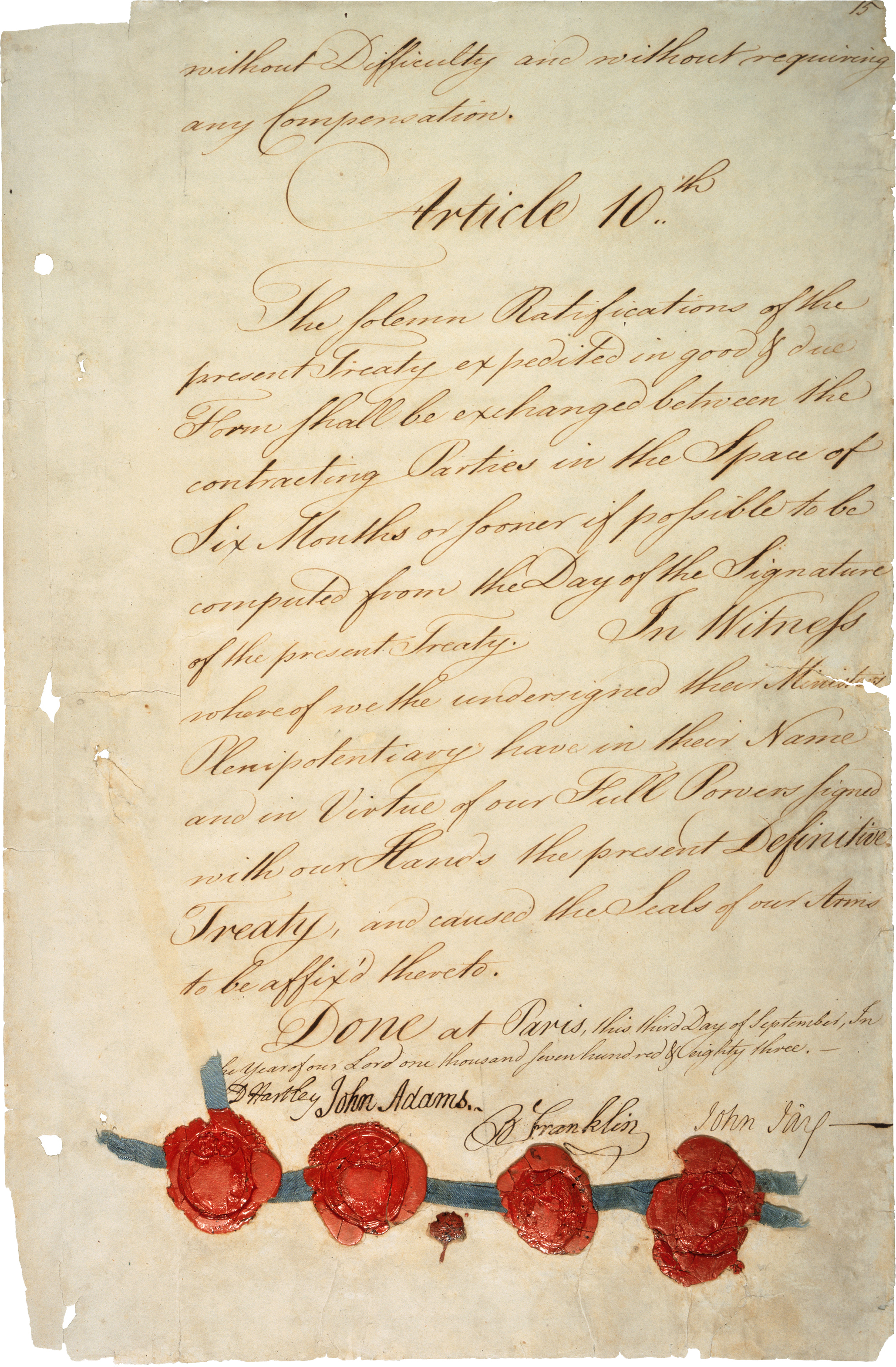 The last page of the Treaty of Paris of 1783