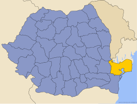 Administrative map of Руминия with Тулчеа county highlighted