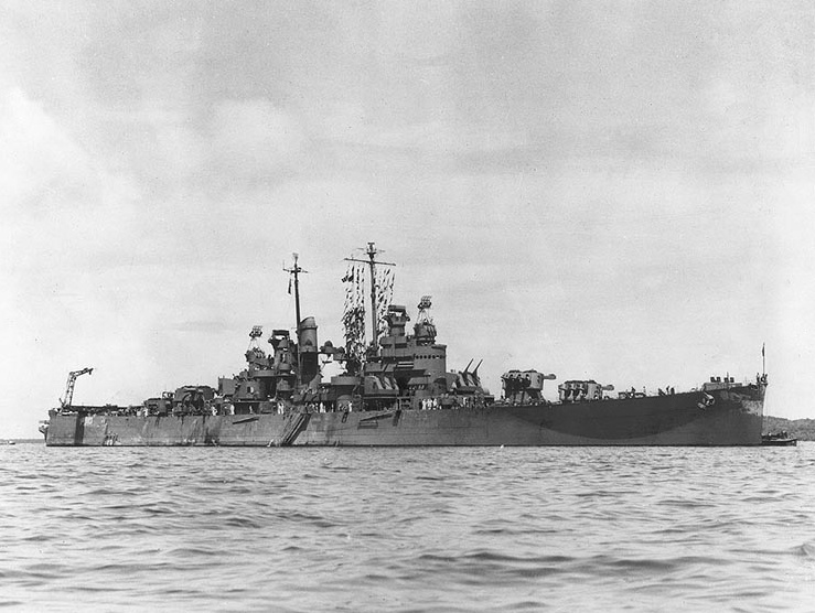 File:USS Denver (CL-58) In A South Pacific Harbour, Circa