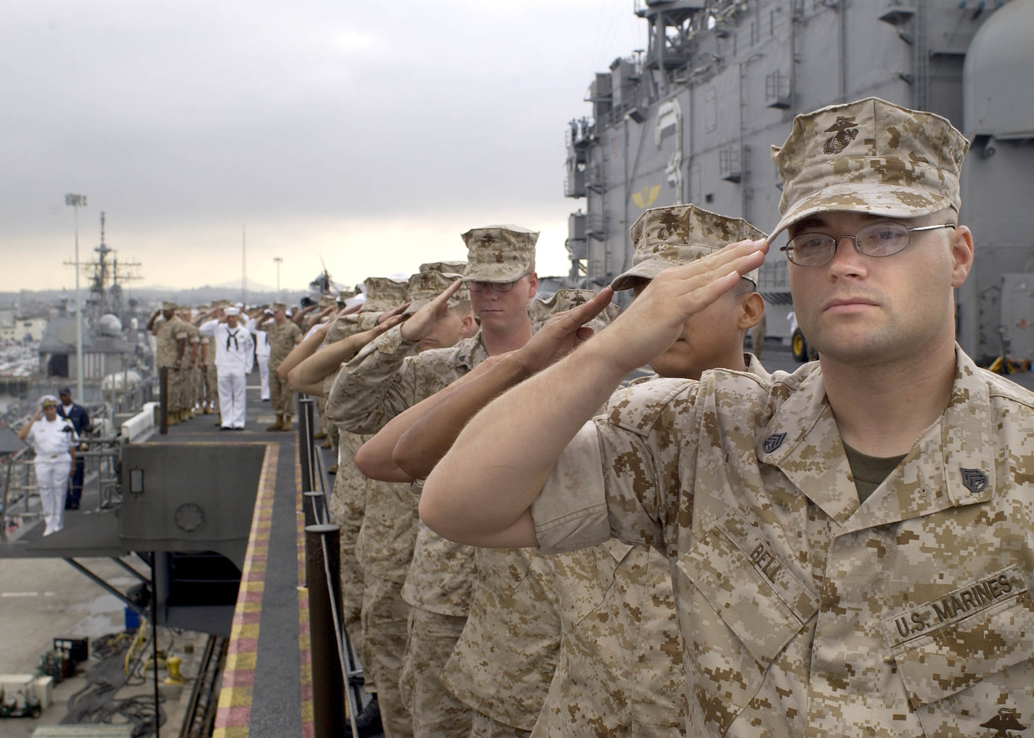 File:US Navy 040527-N-8859S-007 Marines and Sailors salute ...