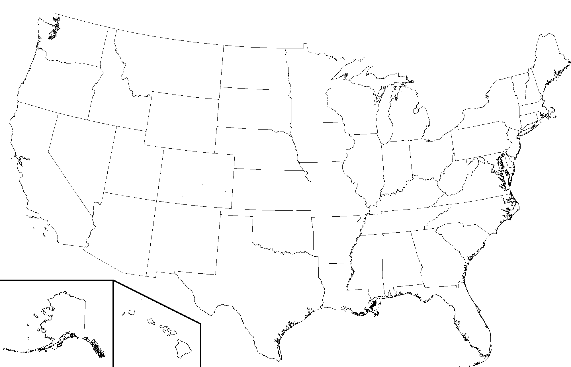 Line Drawing United States Map : File usa state boundaries lower wikimedia commons