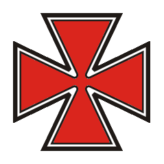 an insignia in the shape of a red maltese cross with a black outline