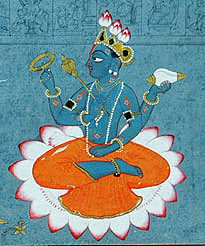 A painting of Vishnu seated on lotus