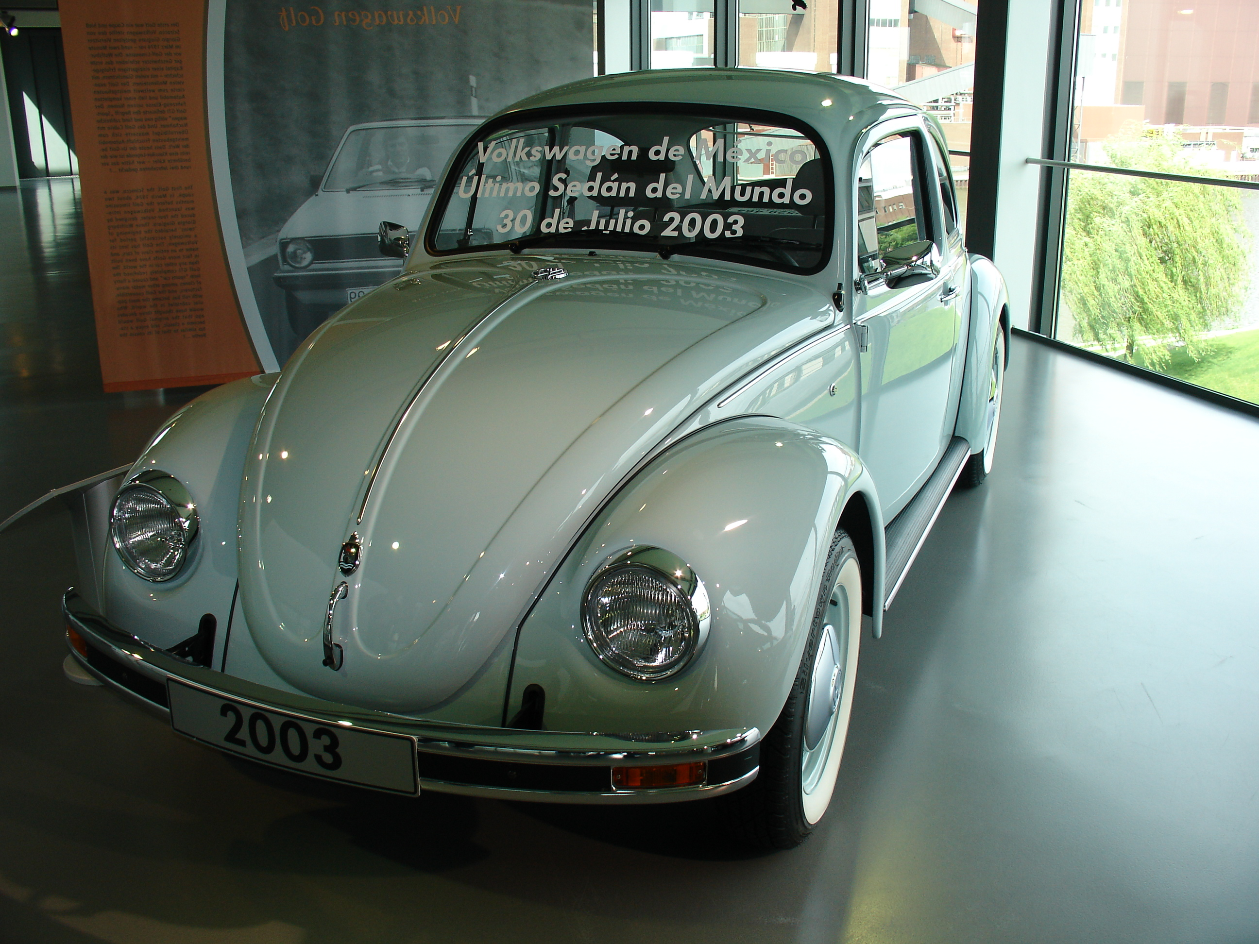 Photograph of the last ever produced VW Beetle