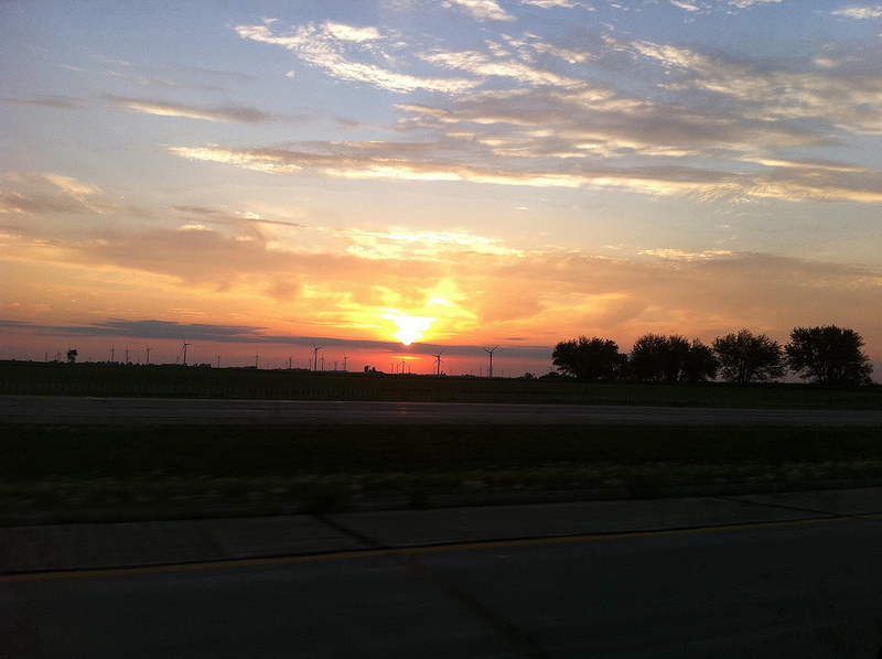 File:Windmills and Sunset While Driving on North Interstate 39 in Illinois.jpg