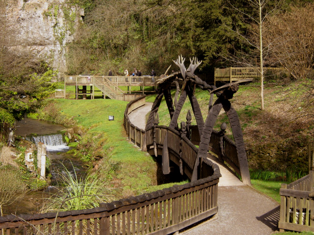 Wookey Hole, footbridge in the park. - geograph.org.uk - 1206634