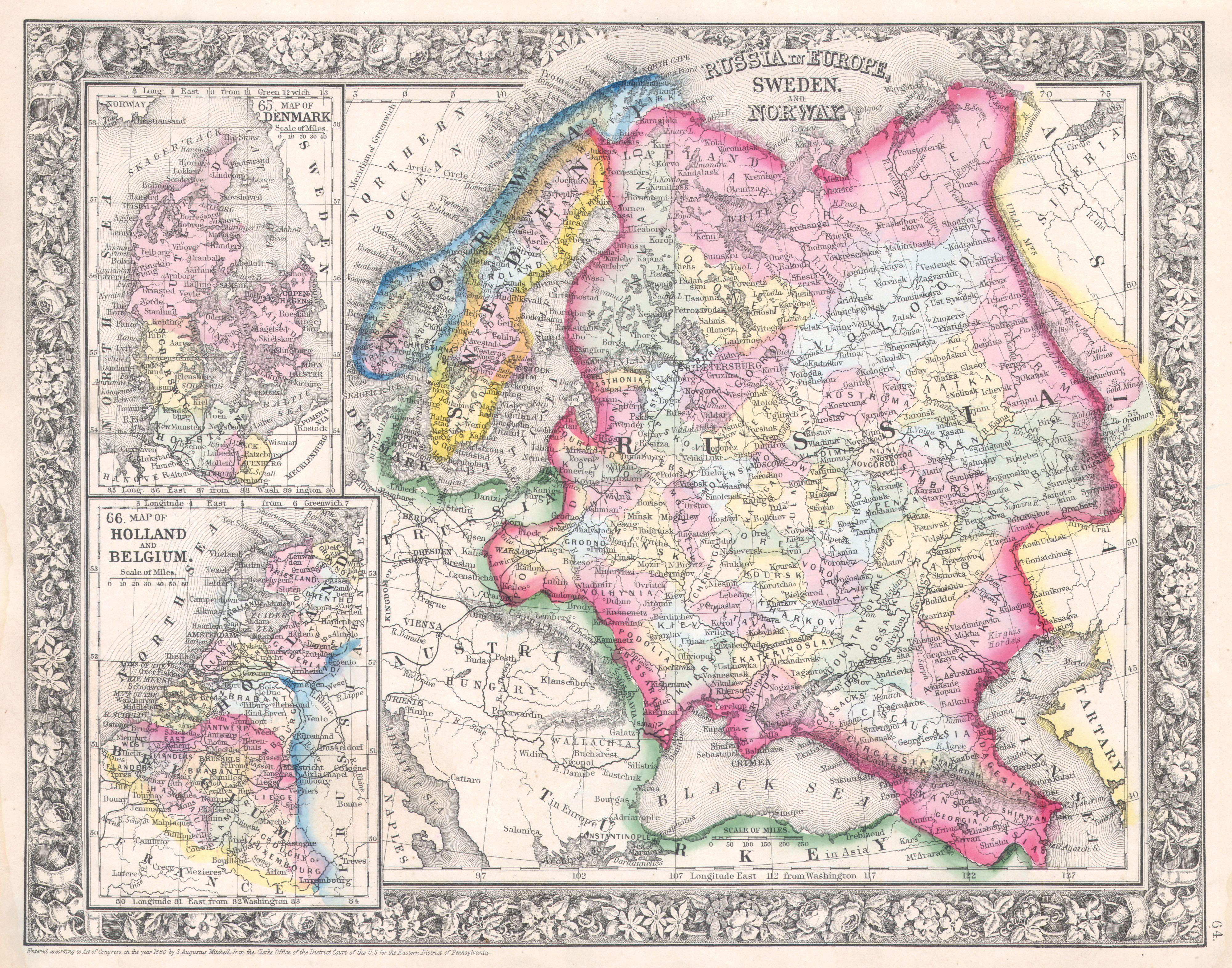 Picture of: File 1864 Mitchell Map Of Russia Scandinavia Denmark Holland And Belgium Geographicus Russia Mitchell 1864 Jpg Wikimedia Commons