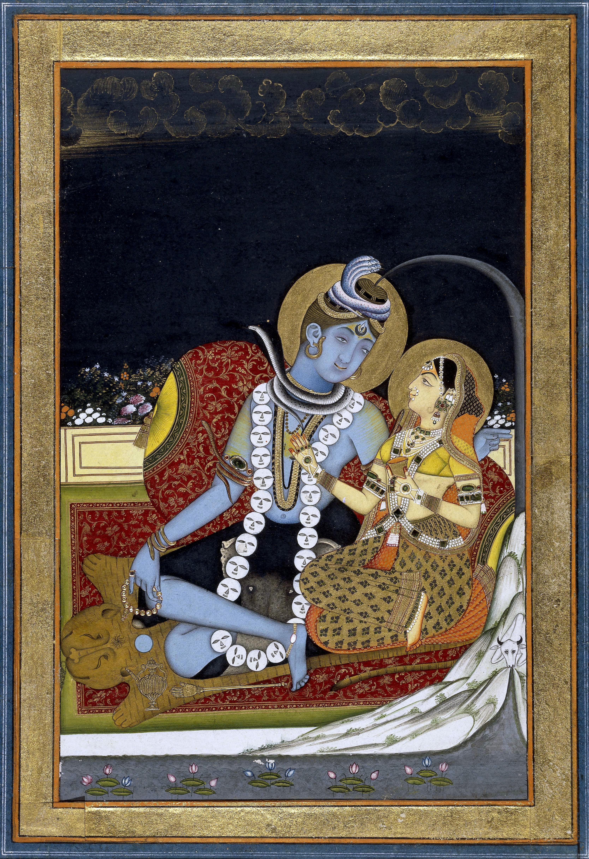 6 Śiva and Pārvatī seated on a terrace. 1800 (circa) BM.jpg
