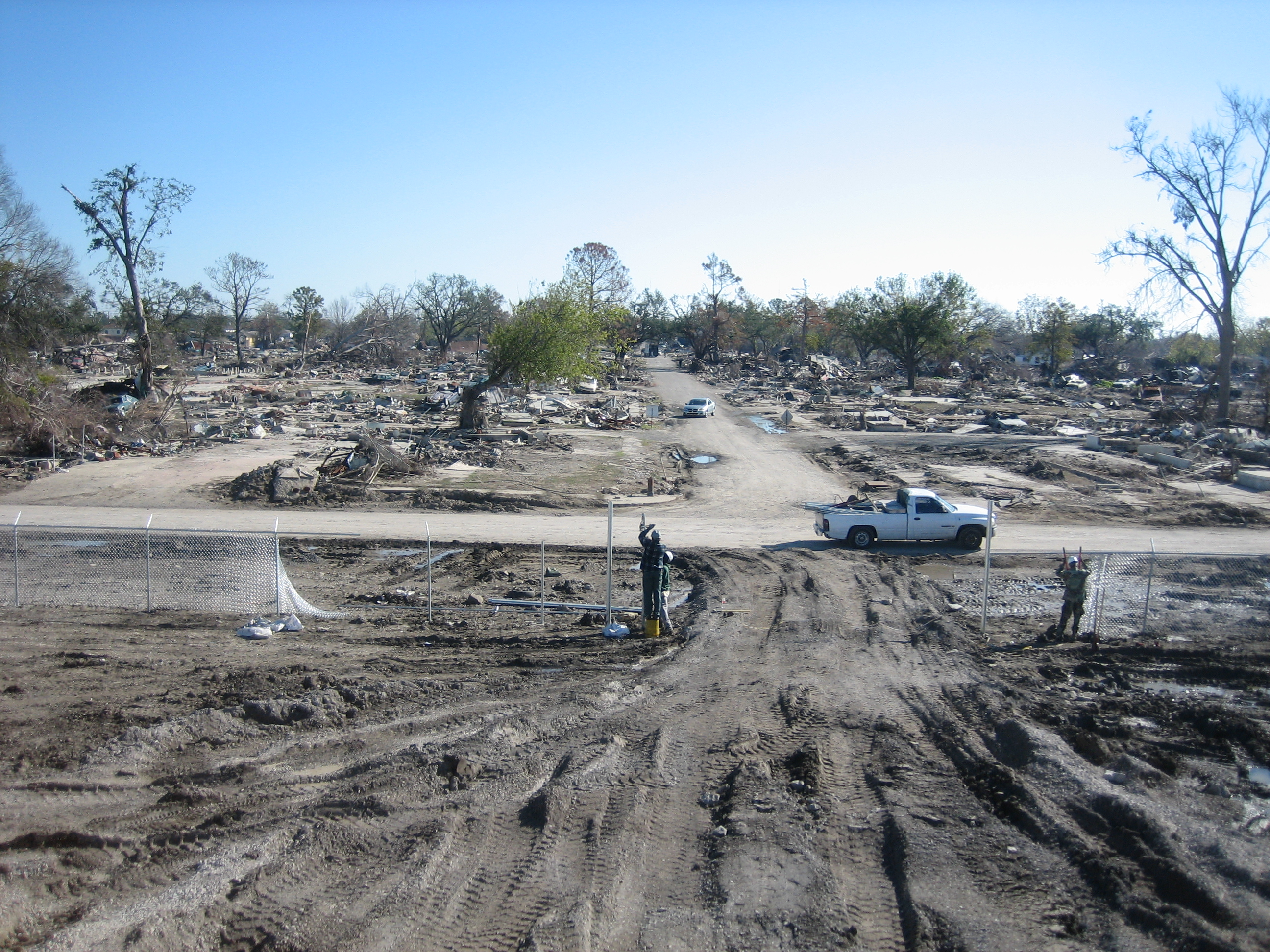 A neighborhood, the 9th Ward in New Orleans, is completely flat due to Hurricane Katrina
