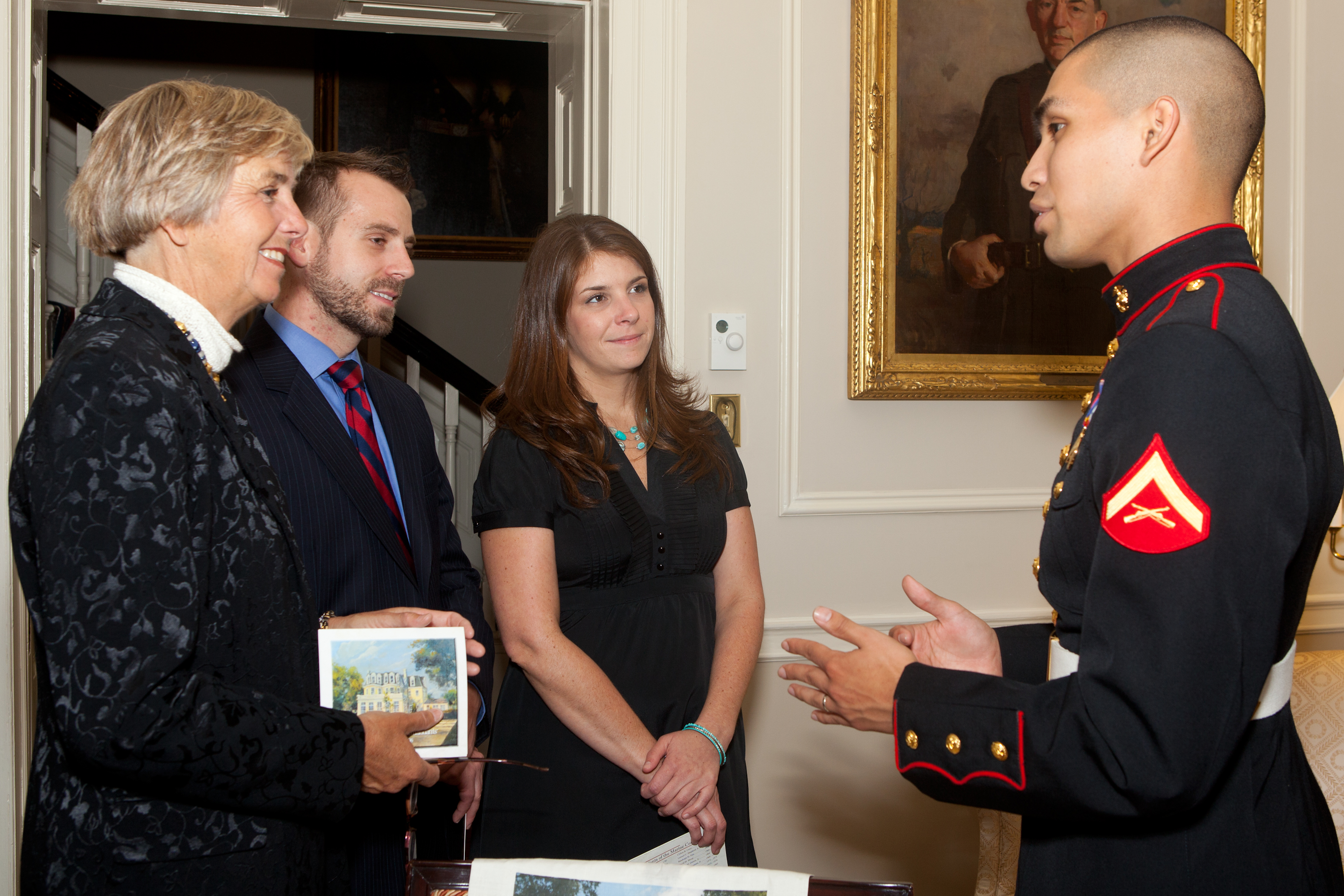 File:A U.S. Marine Corps lance corporal, right, addresses guests ...