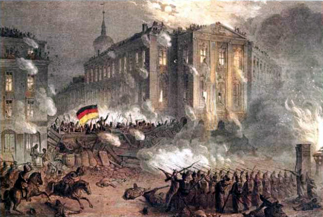 Fierce streetfighting around Alexanderplatz in Berlin on the night of 18-19 March 1848