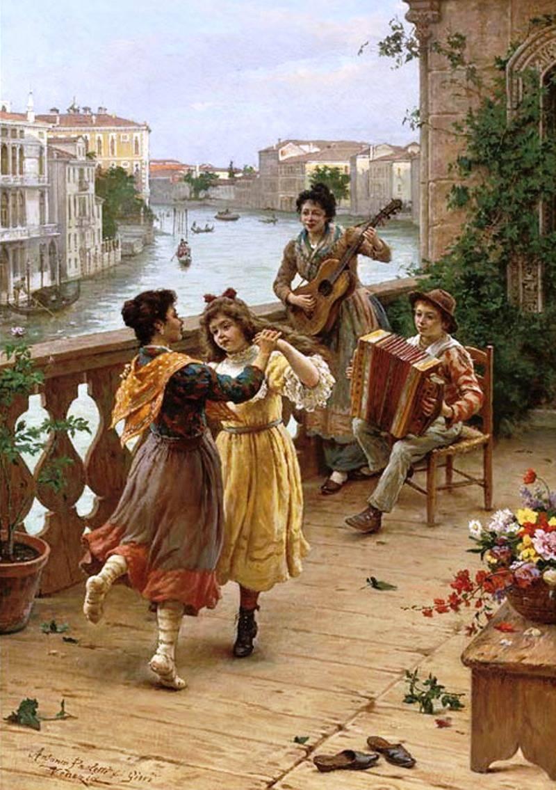 Antonio Ermolao Paoletti - On a Venetian balcony.jpg