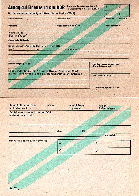 berechtigungsschein zum empfang eines visums der ddr – wikipedia, Einladung