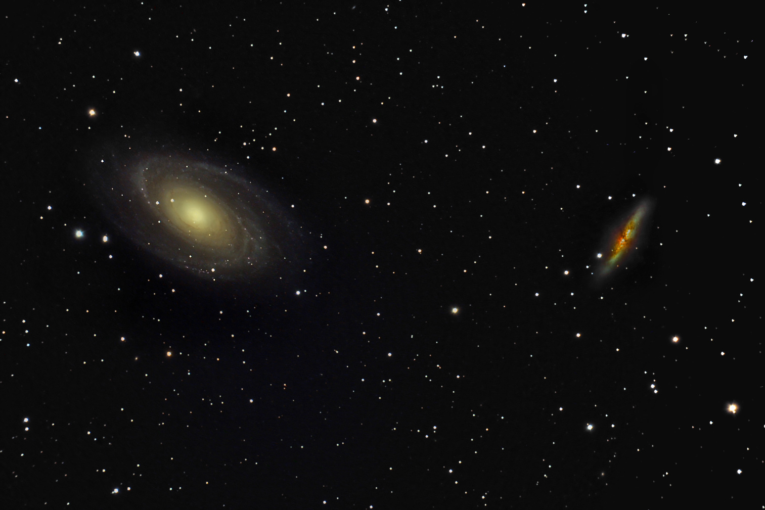 M81 (left) and M82 (right) in Ursa Major: Credti: Wikimedia Commons