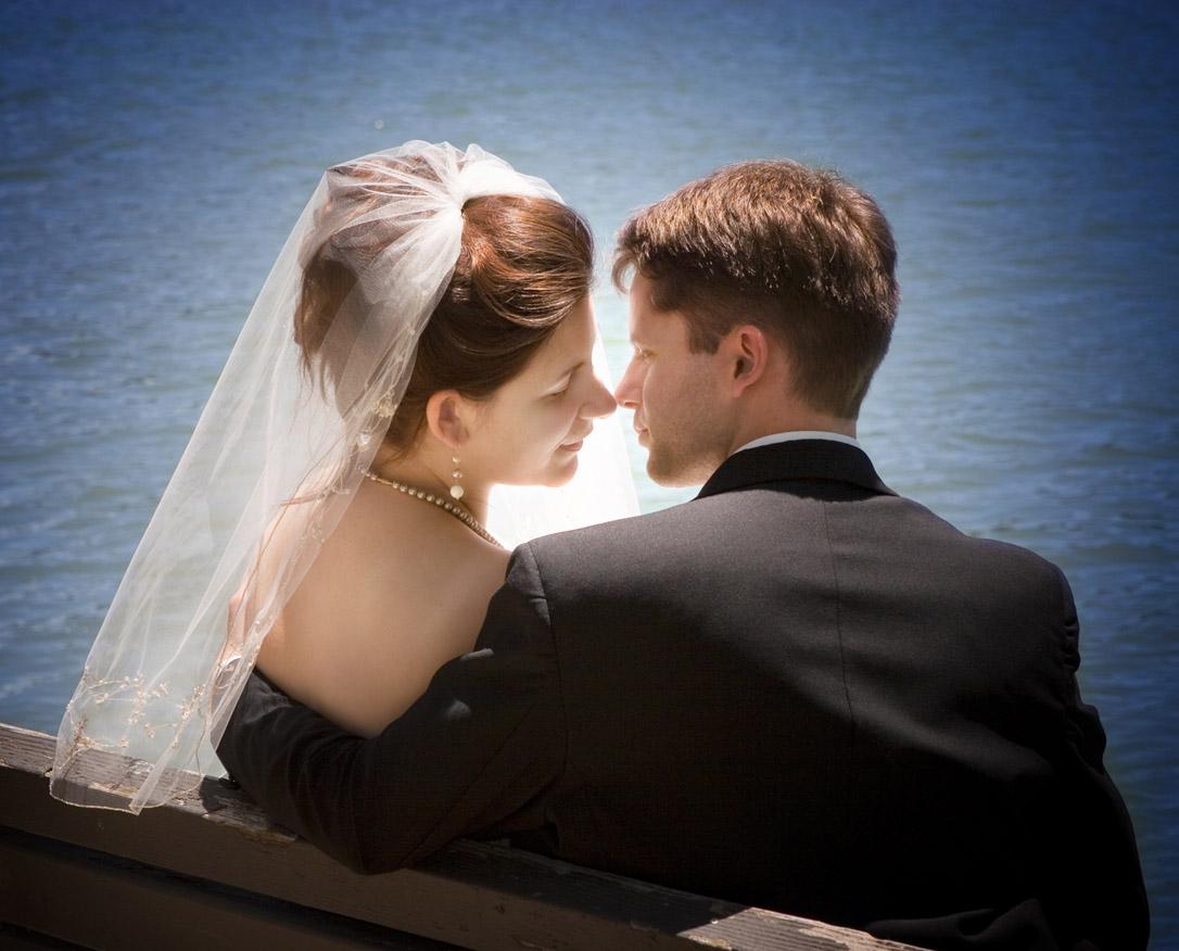 Back-lit wedding shot with vignette
