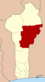 Map of Benin highlighting Borgou department