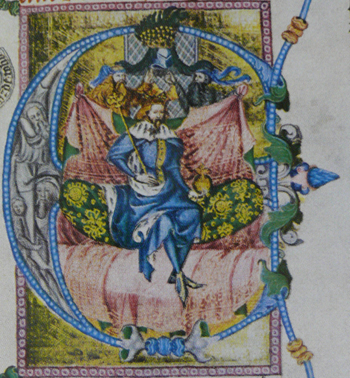 King Wenceslaus depicted in his Bible (the so-called Wenceslas Bible, late 14th century) Bible Vaclav4 1.jpg
